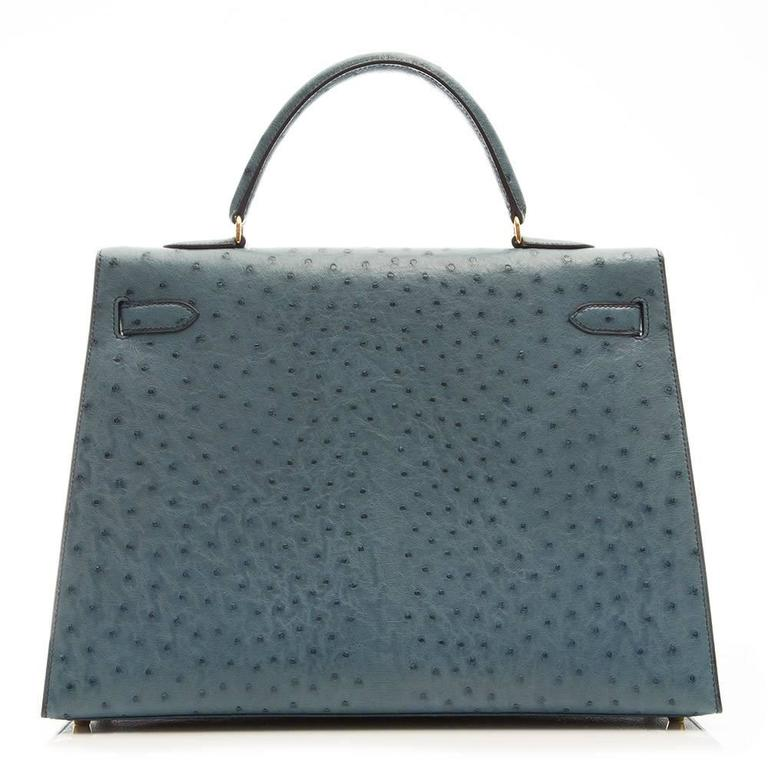 Hermes 35cm Blue Jean Ostrich Kelly Bag 4