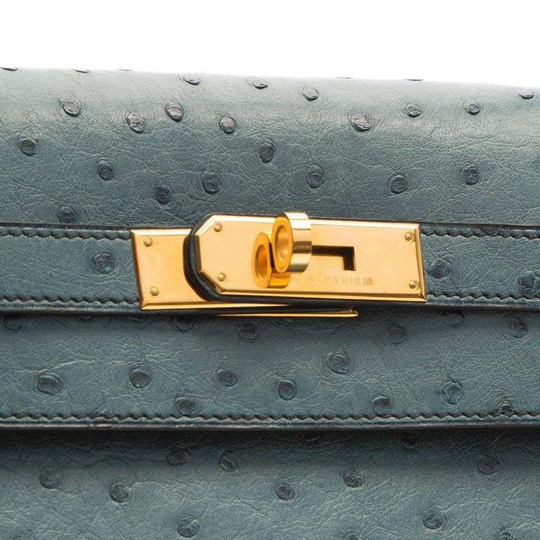 Hermes 35cm Blue Jean Ostrich Kelly Bag 5