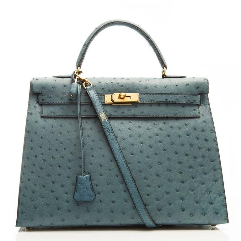 Hermes 35cm Blue Jean Ostrich Kelly Bag 2