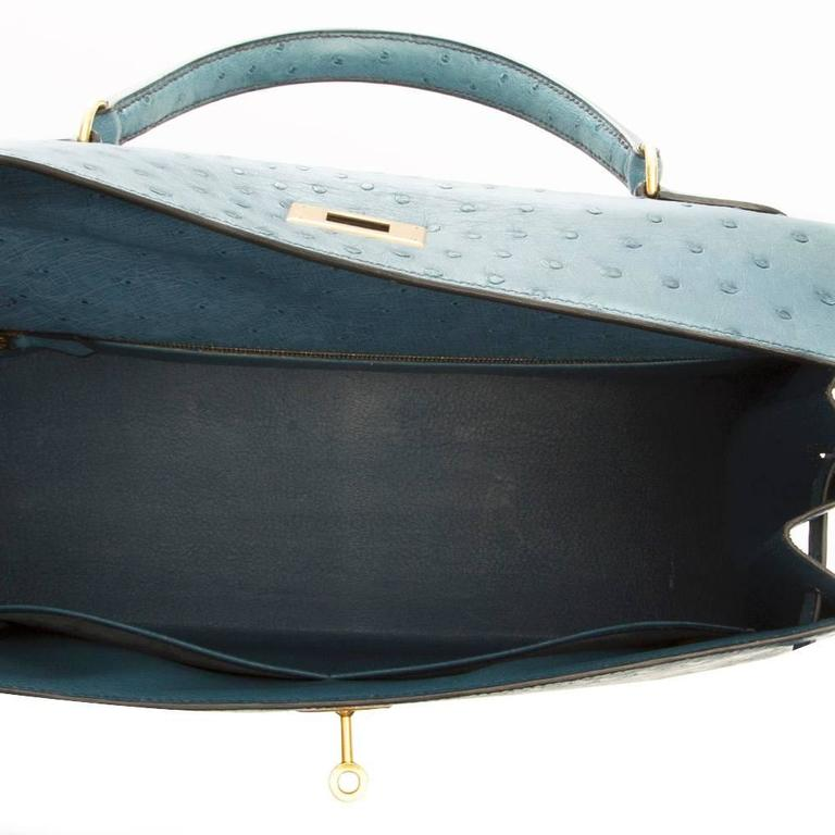 Hermes 35cm Blue Jean Ostrich Kelly Bag 9