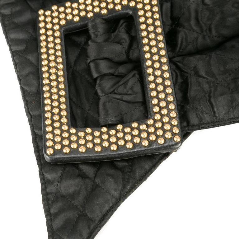 Yves Saint Laurent Gold-Studded Black Leather Belt 2