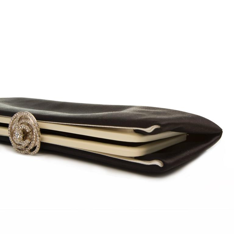 Women's or Men's Chanel Black Satin Clutch For Sale