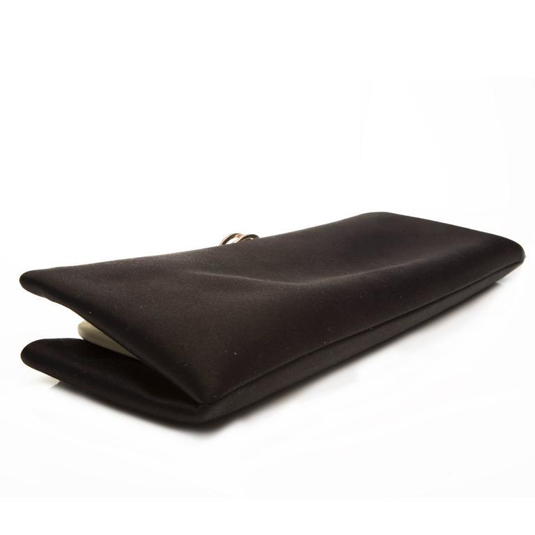 Chanel Black Satin Clutch For Sale 2