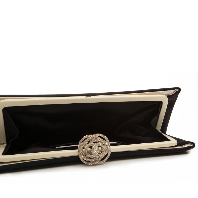 Chanel Black Satin Clutch For Sale 3