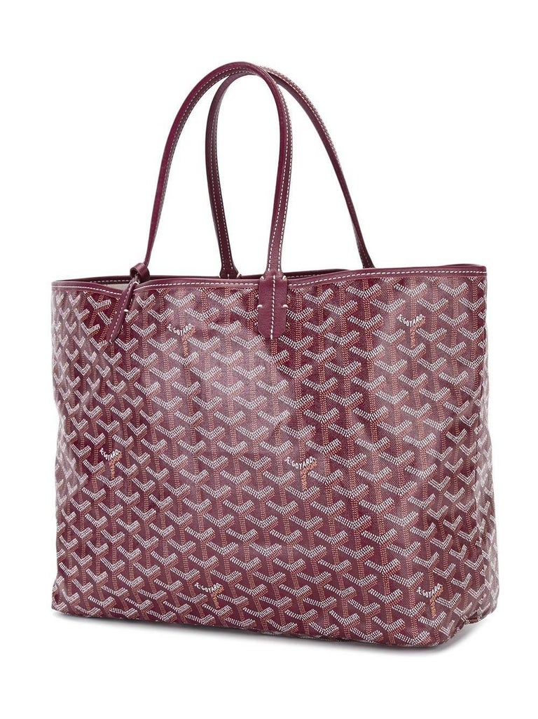 Grey leaher 'St Louis' tote from Goyard Vintage featuring a monogram pattern, an open top design, hand painted buttrflies and an internal zipped clutch. Please note that vintage items are not new and therefore might have minor