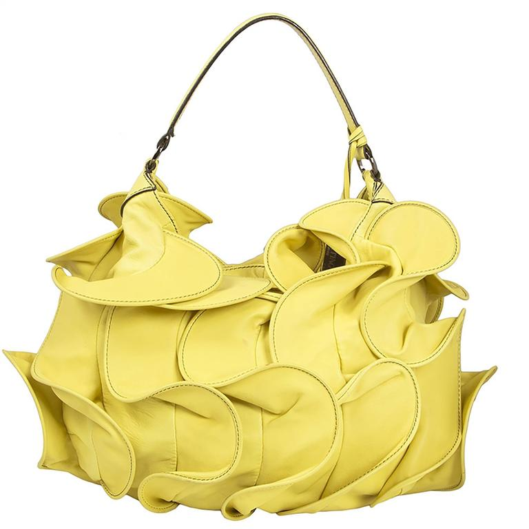 Valentino Ruffled Yellow Leather Handbag In Good Condition For Sale In London, GB