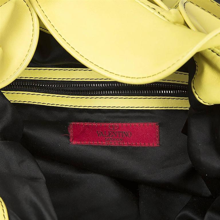 Women's Valentino Ruffled Yellow Leather Handbag For Sale