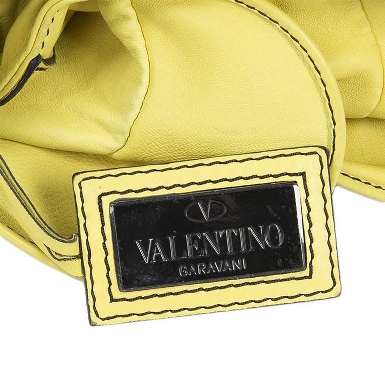 Valentino Ruffled Yellow Leather Handbag For Sale 2