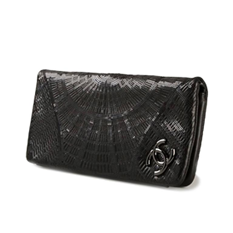 Chanel Black Sequinned Clutch 2