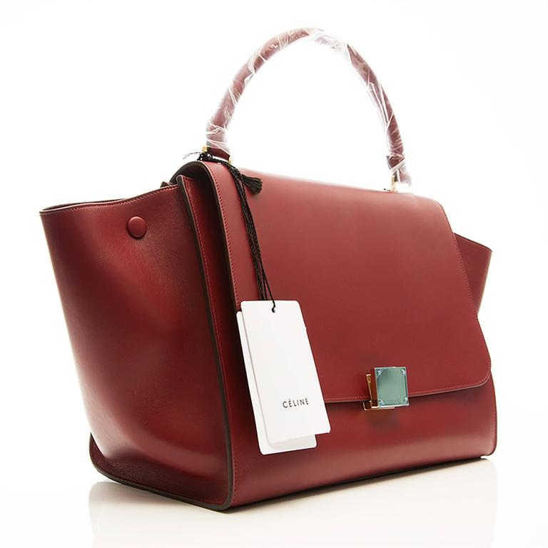 Celine Burgundy Red Trapeze Handbag 2