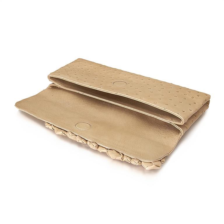 Bottega Veneta Beige Ostrich Leather Clutch Bag For Sale 1