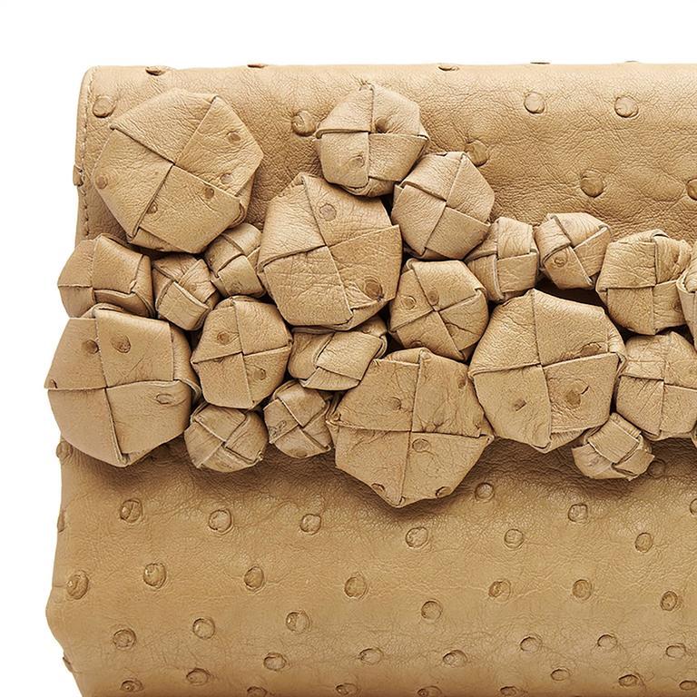 Men's Bottega Veneta Beige Ostrich Leather Clutch Bag For Sale