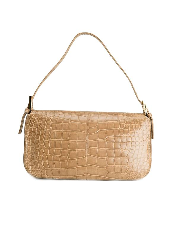71b9c50b2a21 Fendi Crocodile Leather Crystal Lizard Baguette Shoulder Bag In Good  Condition For Sale In London