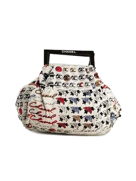 Chanel Velvet Logo Printed Tote Handbag 2