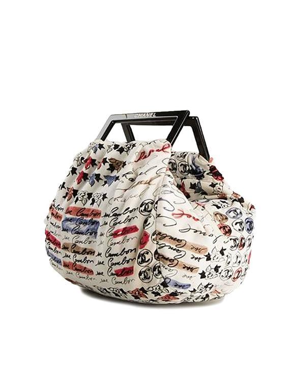Chanel Velvet Logo Printed Tote Handbag 3