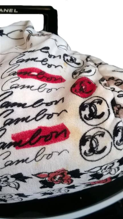 Chanel Velvet Logo Printed Tote Handbag 4