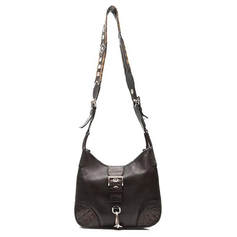 Black Prada Leather and Exotic Skin Cross-Body Bag For Sale