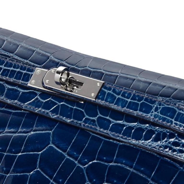 Hermes Bleu Petrole Niloticus Crocodile Kelly Pochette Elan Clutch RARE For Sale 1
