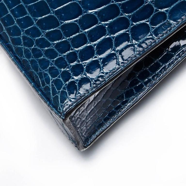 Hermes Bleu Petrole Niloticus Crocodile Kelly Elan Clutch 7