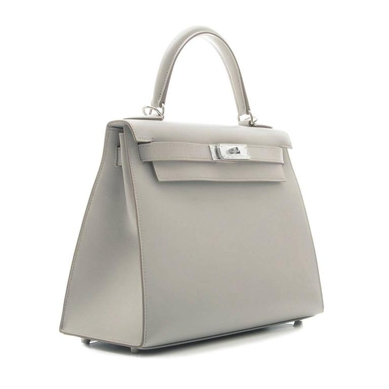 1361f4676c Limited Edition Hermes Gris Perle 28cm Sellier Kelly Guilloche Hardware at  1stdibs