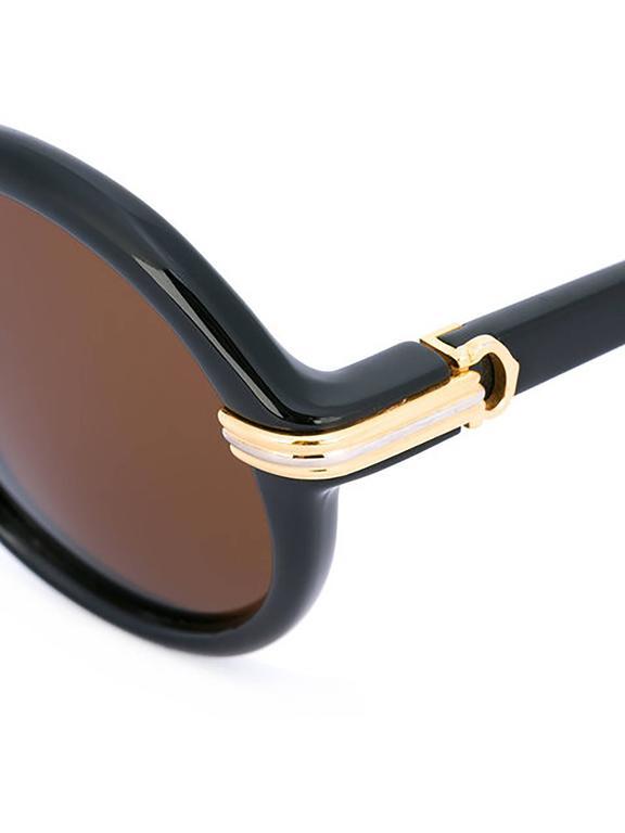 Black Cartier Round-Frame Sunglasses For Sale