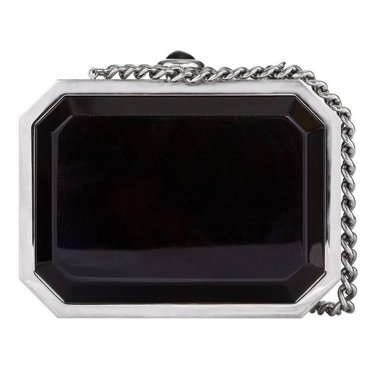 Black Vintage Chanel See-Through Minaudiere  For Sale