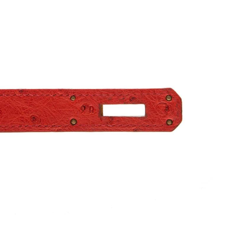 Hermès Vintage Rouge Vif 32cm Kelly in Ostrich Leather For Sale 3