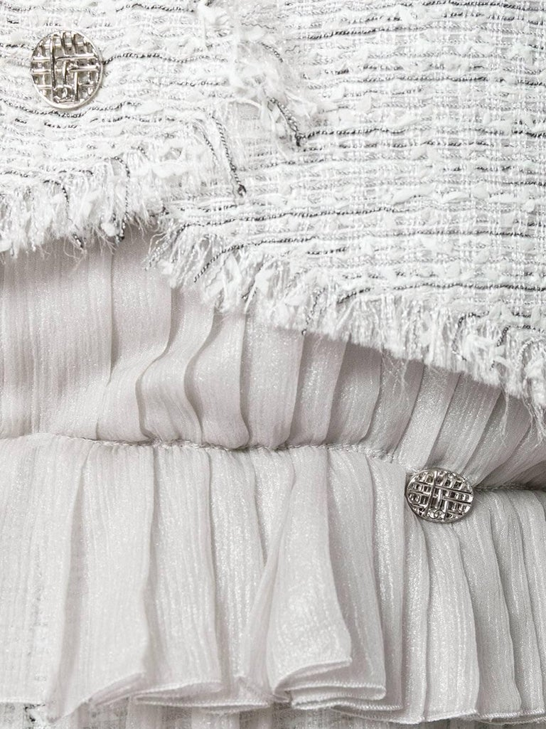 Vintage Chanel Metallic Chiffon and Tweed Twinset 2