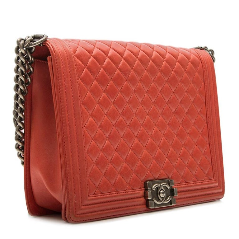 Chanel Quilted Red Boy Shoulder Bag  2