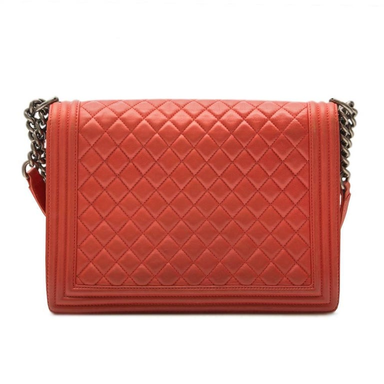 Chanel Quilted Red Boy Shoulder Bag  4