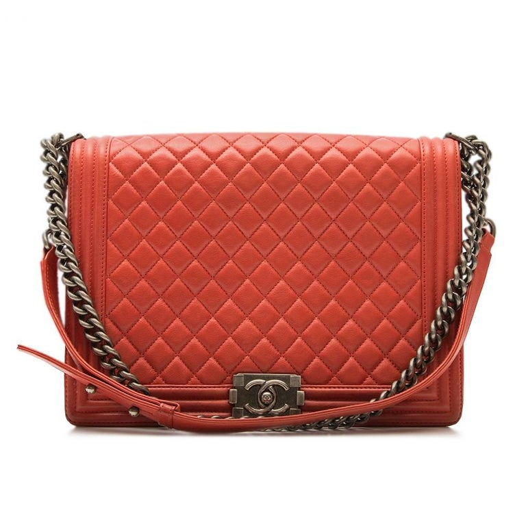 Chanel Quilted Red Boy Shoulder Bag  5