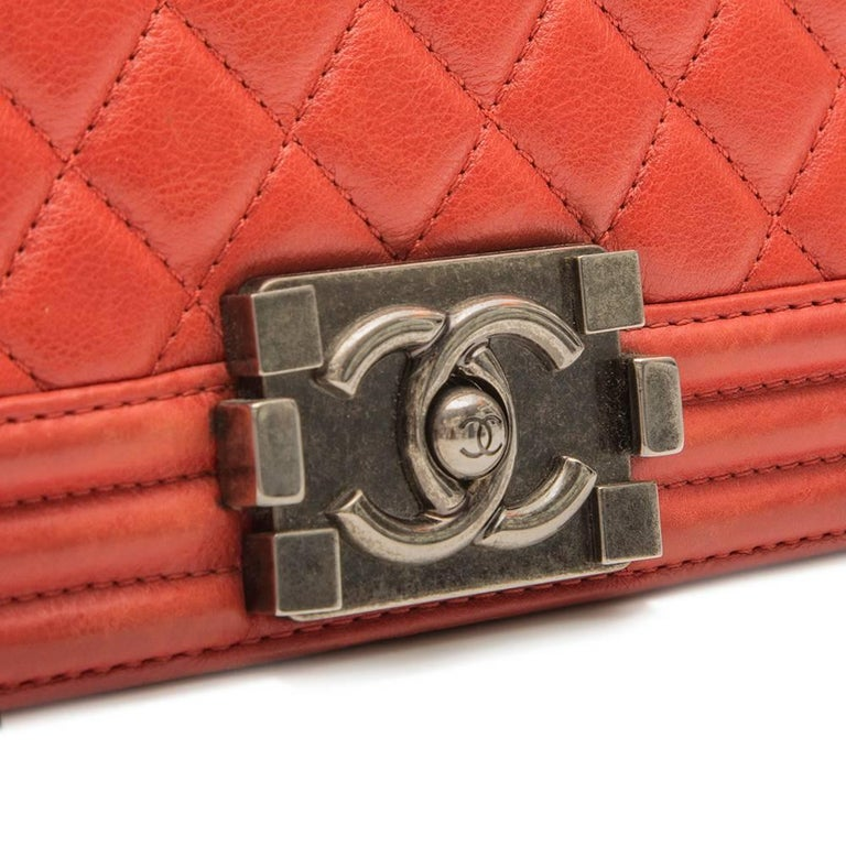 Chanel Quilted Red Boy Shoulder Bag  6