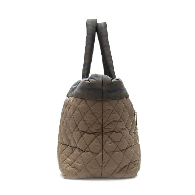Gray Chanel Khaki Coco Cocoon Tote Bag  For Sale