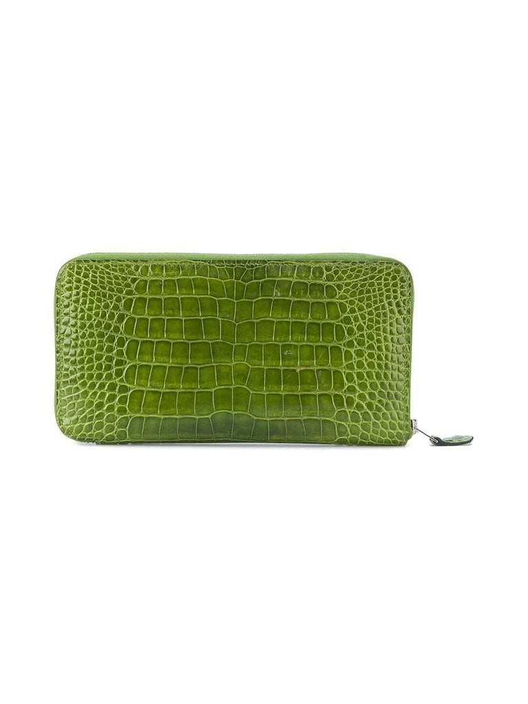 0764a322c6 Hermes Green Crocodile Wallet In Excellent Condition For Sale In London