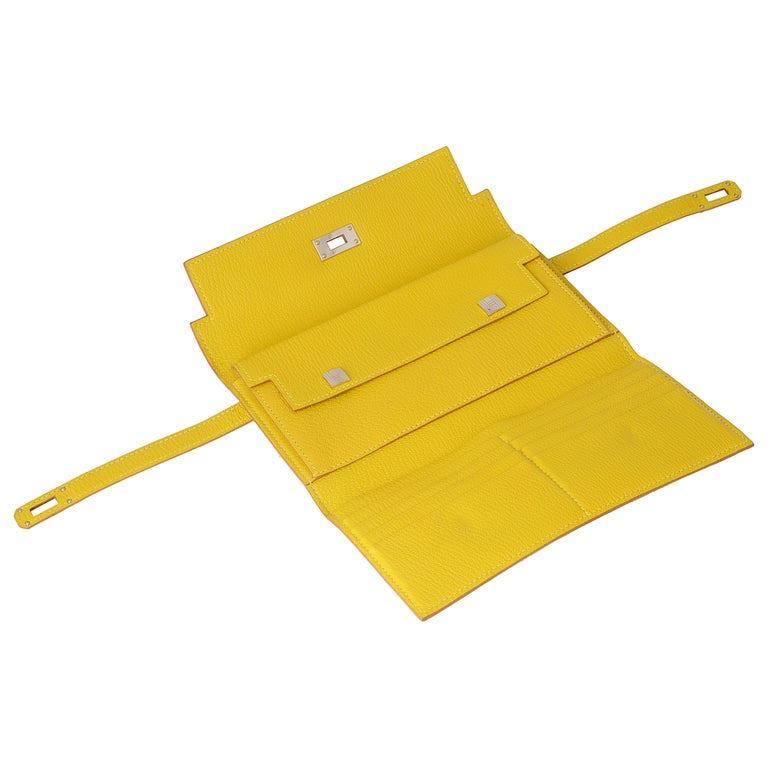 Hermes Kelly Cumin Yellow Wallet For Sale 2