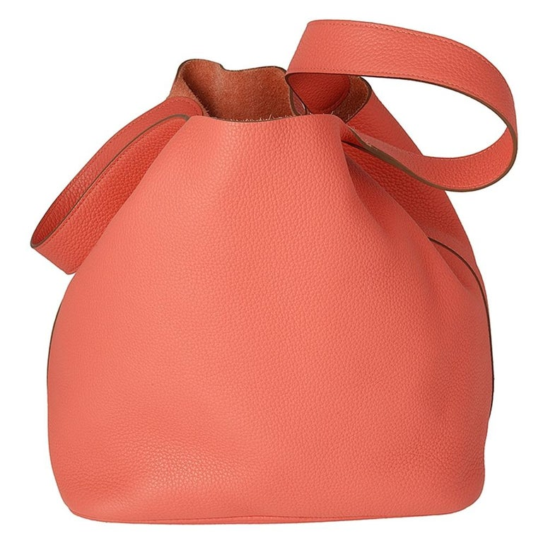 """The Hermes Picotin bag is tremendously popular for its adorable and endearing structure. The striking colour 'Rose Jaipur' is named after the """"Pink City"""" of India, Jaipur where buildings are all pink. The beautiful Clemence leather is adored as it"""