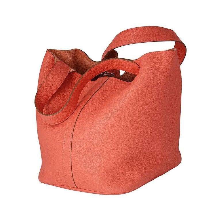 Red Hermes Rose Jaipur Clemence Leather 28cm Picotin Bag For Sale