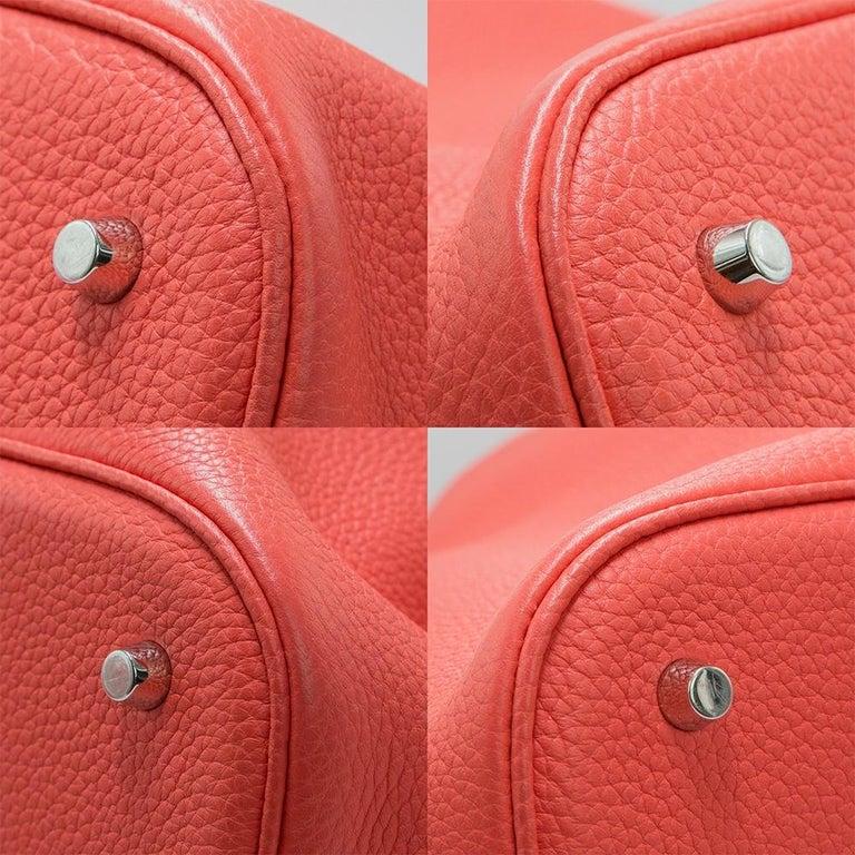 Hermes Rose Jaipur Clemence Leather 28cm Picotin Bag For Sale 1
