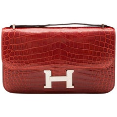 Hermès Rouge Porosus Crocodile H Constance Elan Shoulder Bag