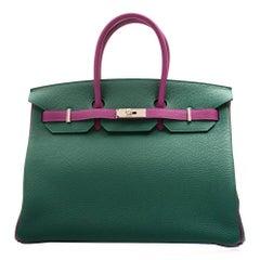 Hermès Bi-Tone Malachite Green /Anemone  Birkin 35 Handbag