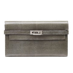 Hermes Kelly Grey Lizard Wallet