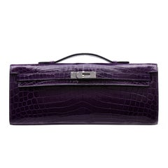 Hermes Prune Niloticus Crocodile Kelly Cut Clutch