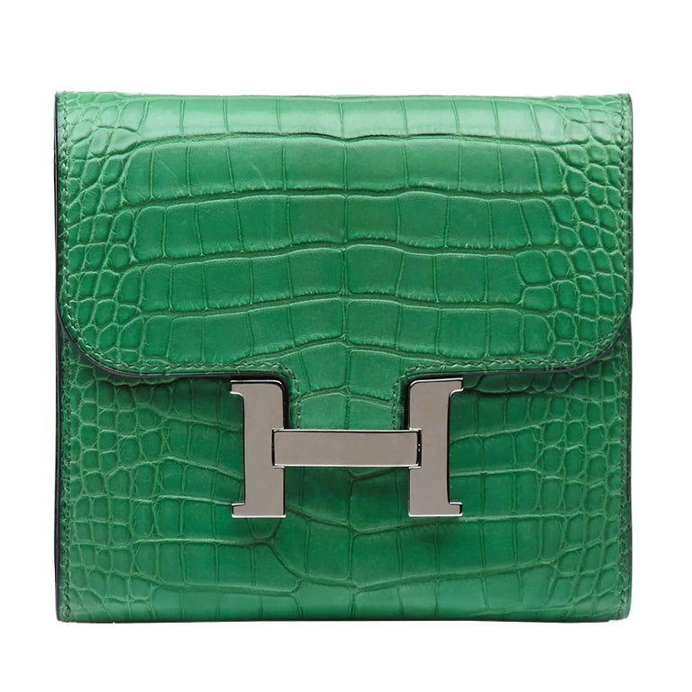 b9a8b0ef1e HomeFashionHandbags and PursesWallets and Small Accessories. Hermes Cactus  Green Matte Alligator Compact Constance Wallet For Sale