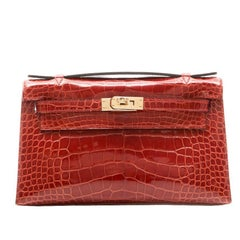 Hermes Brown Alligator Kelly Pochette Bag BRAND NEW