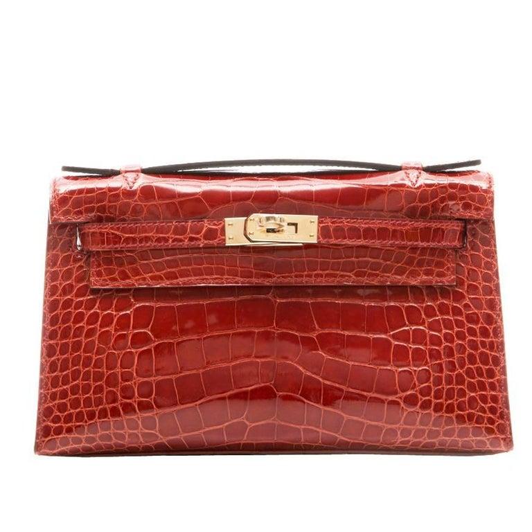 Hermes Brown Alligator Kelly Pochette Bag BRAND NEW