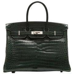 Hermes Vert Foncé Porosus Crocodile 35cm Birkin Bag