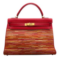 Hermes Red Vibrato Togo Leather 32cm Kelly Bag