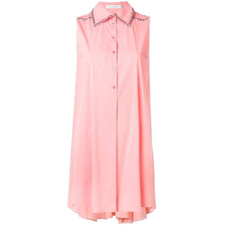 Christian Dior Embellished Coral Shirt Dress