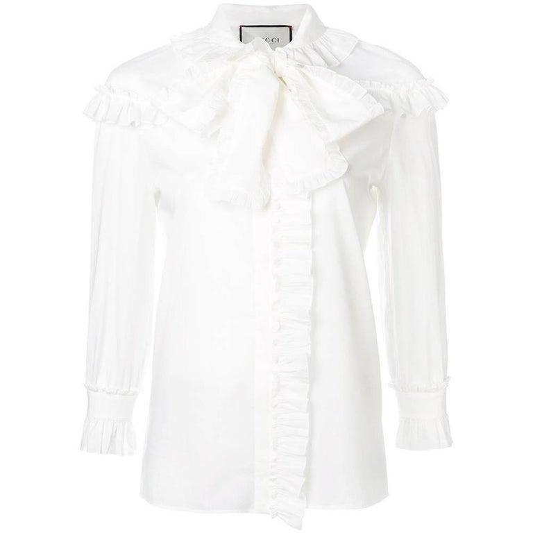 f6da7241bbc Gucci White Ruffle Shirt at 1stdibs