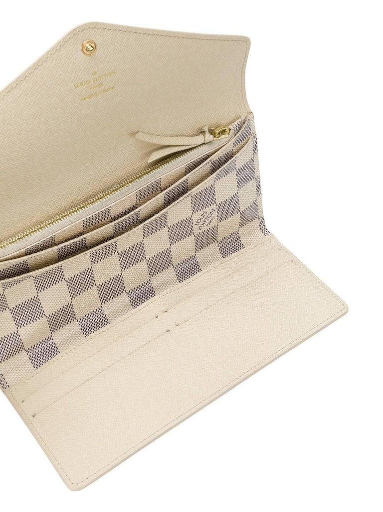 9d698ffe4267 Beige Louis Vuitton Damier Azur Leather Sarah Wallet For Sale
